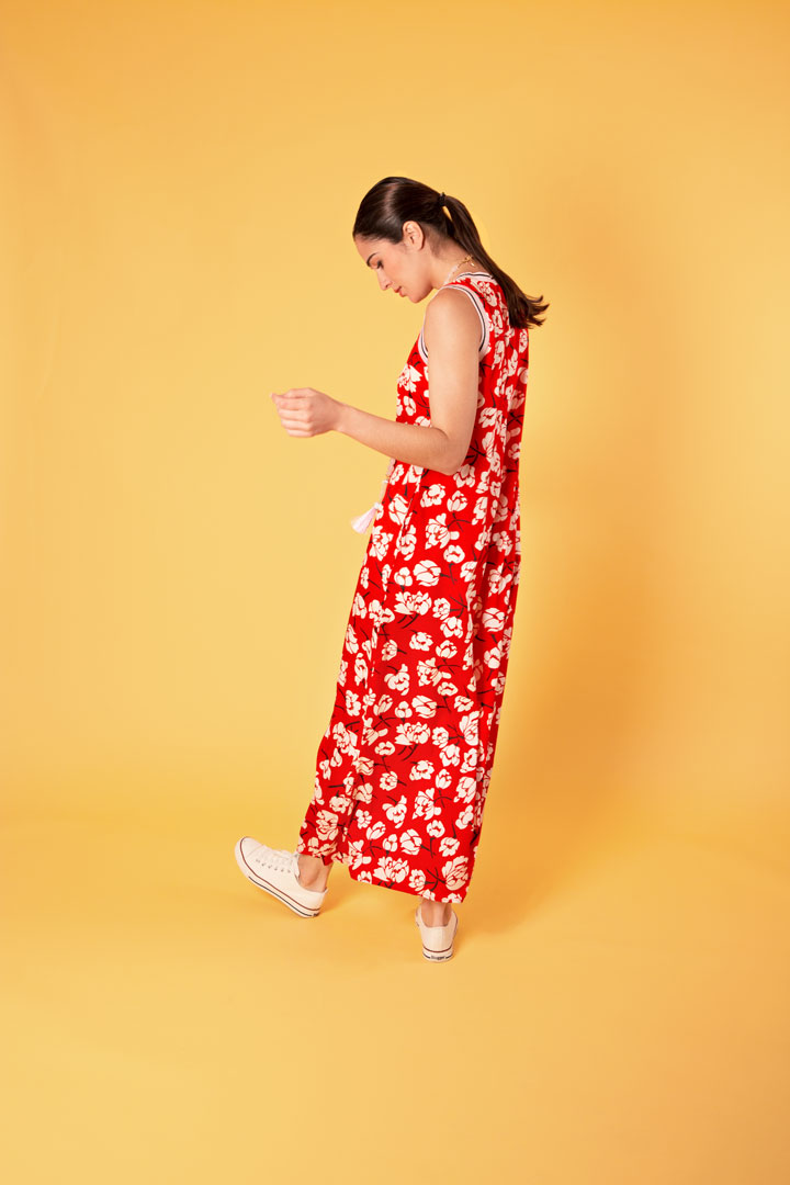 Vestido largo rojo sin mangas