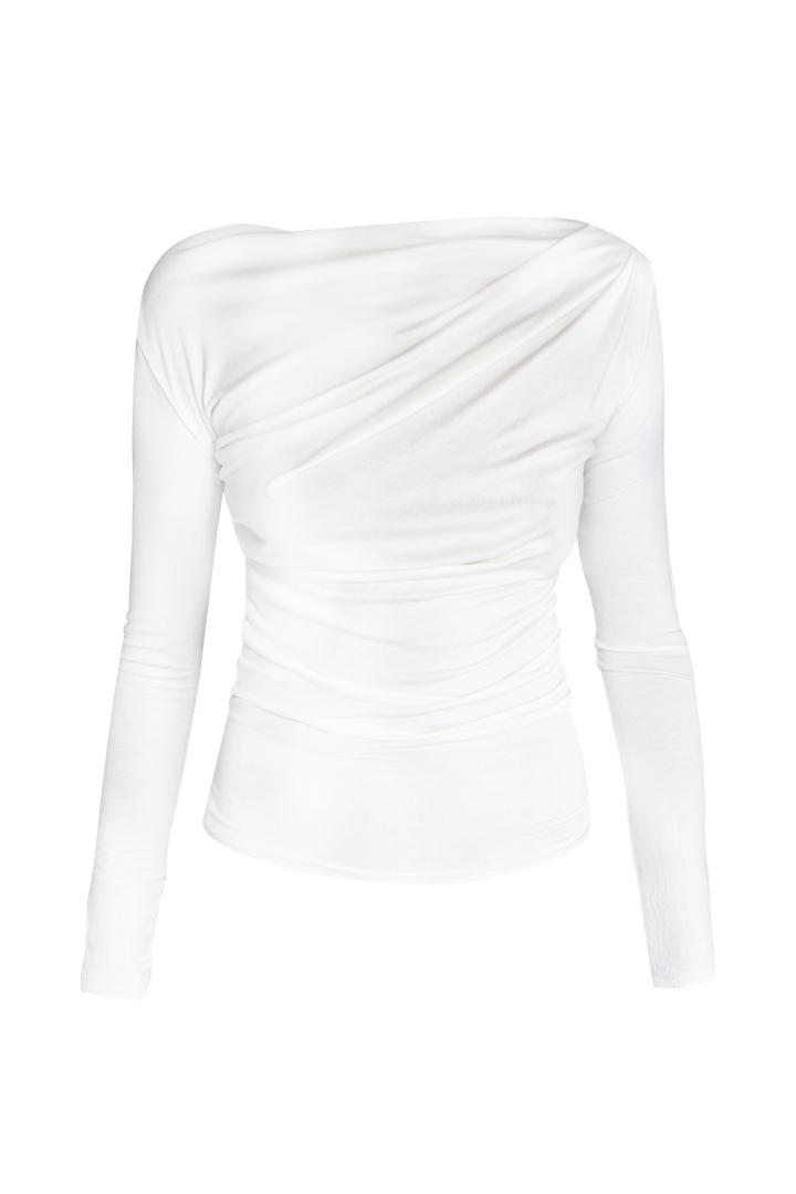 Top Drapeado Blanco Basic Teria Yabar