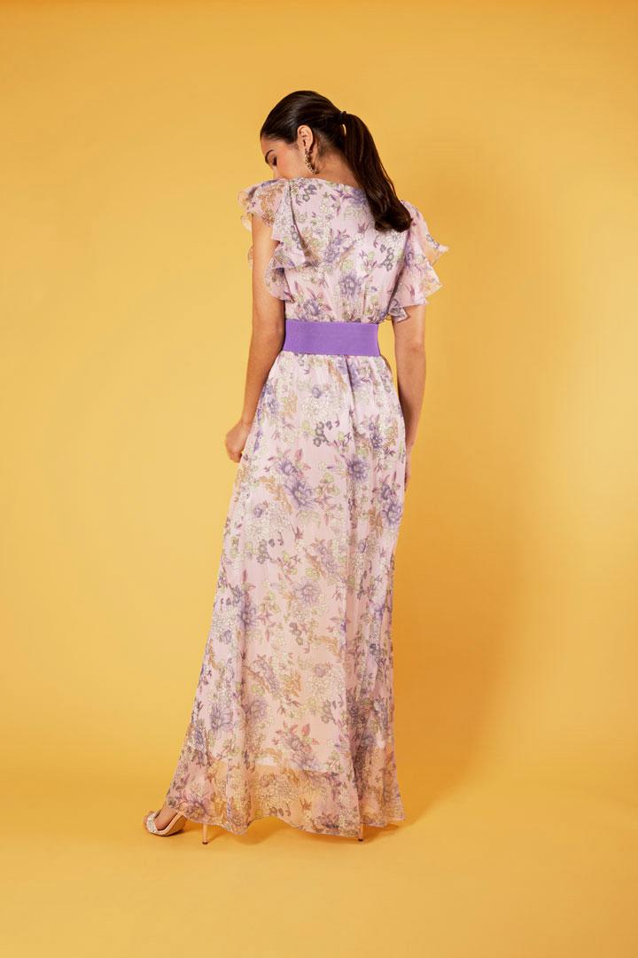 Vestido print floral escote en v