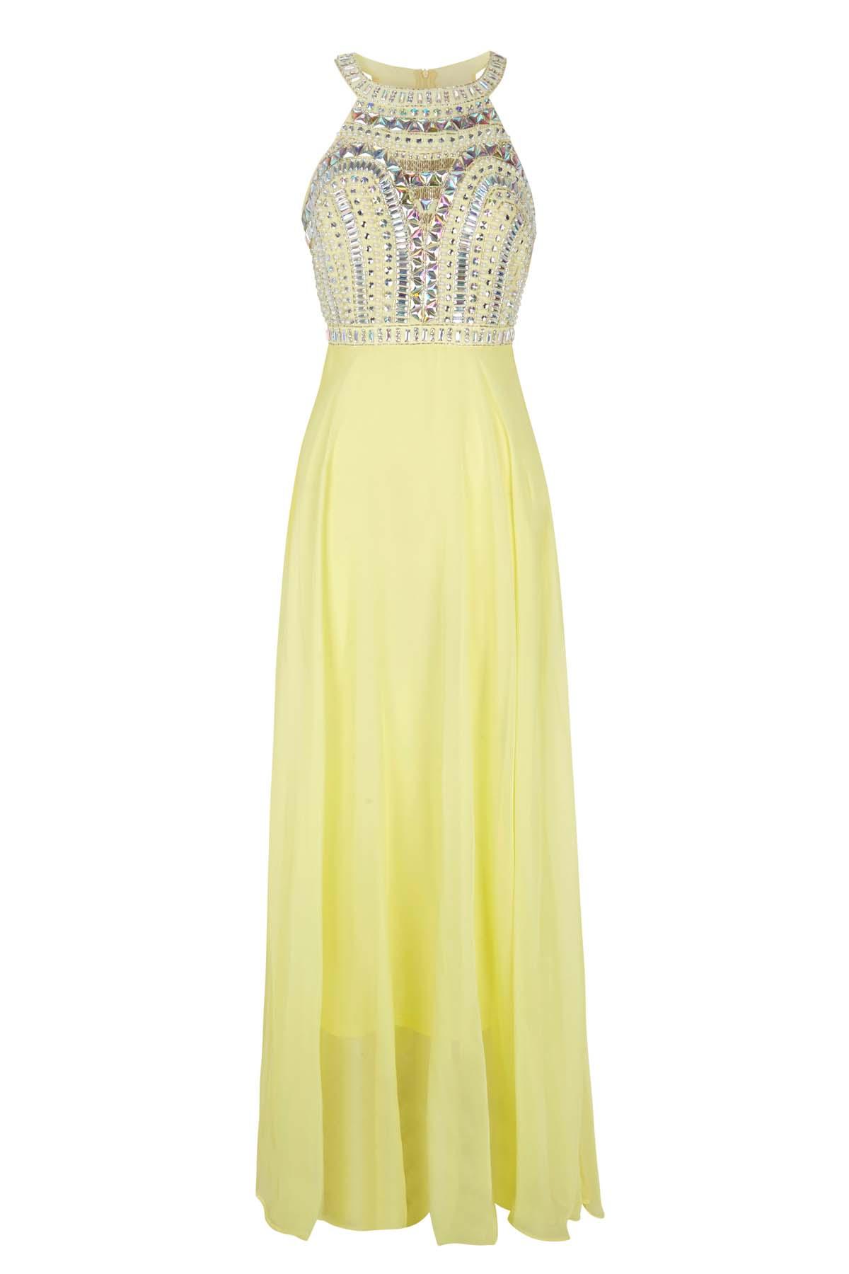Teria Yabar -  Vestido amarillo con Pedrería