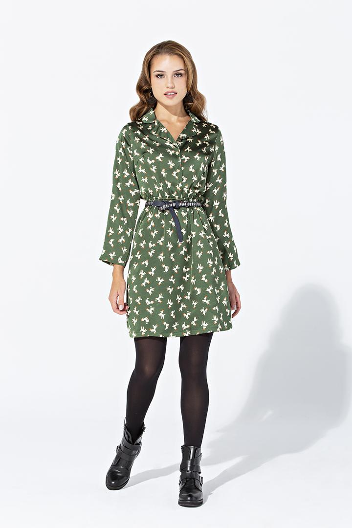 Vestido camisero satinado verde