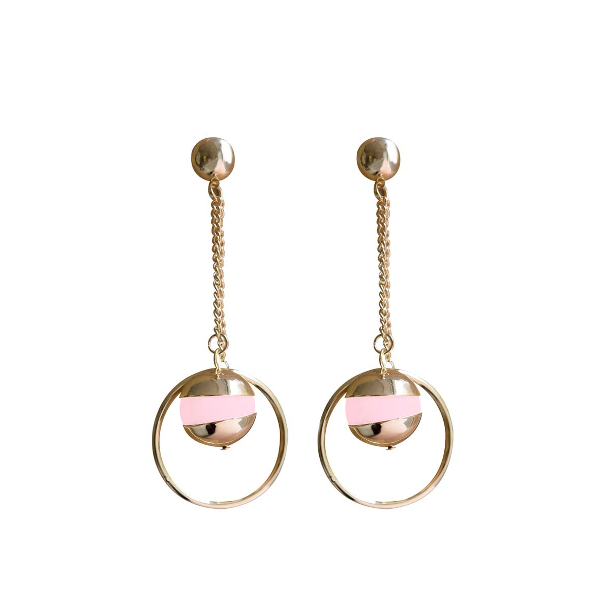 Teria Yabar - Pendientes largos de aro y perla rosa