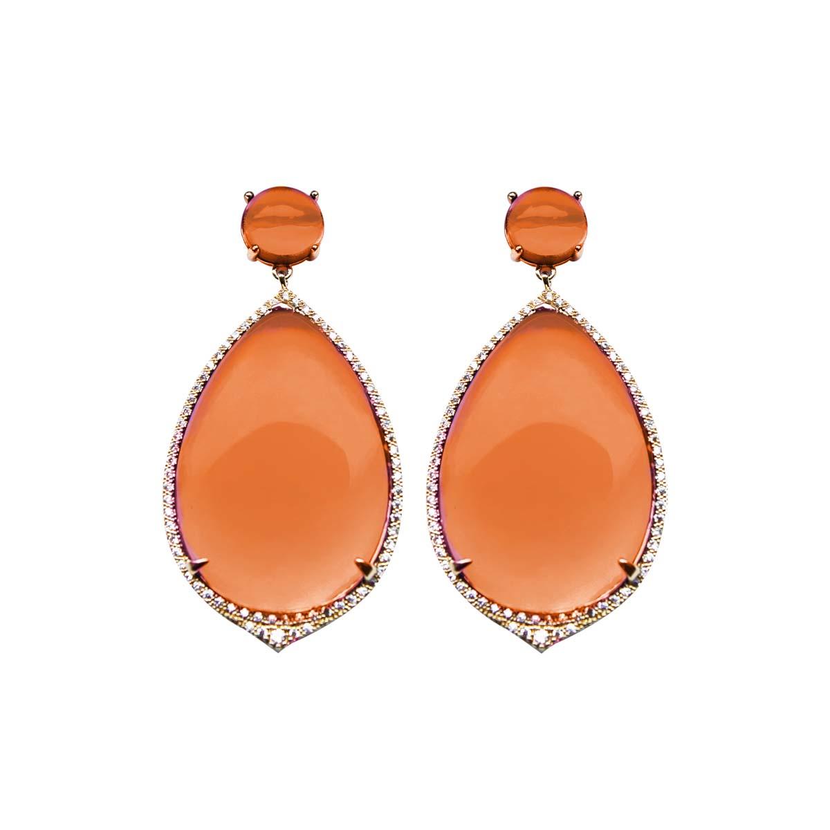 Teria Yabar - Pendientes largos en tono naranja