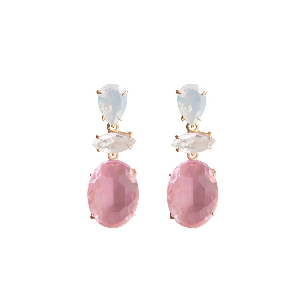 Teria Yabar - Pendientes rosas de cristal
