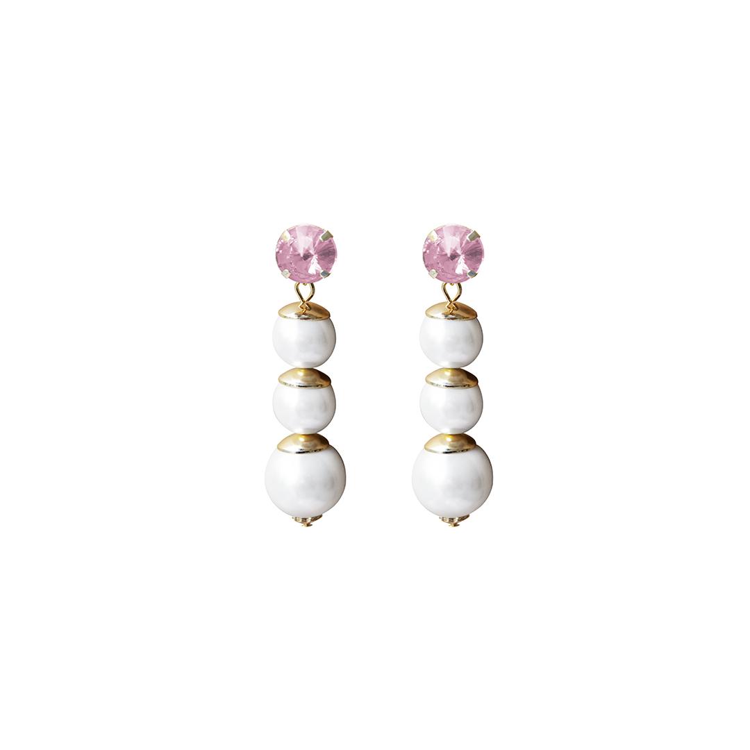 Teria Yabar - Pendientes largos con piedra rosa