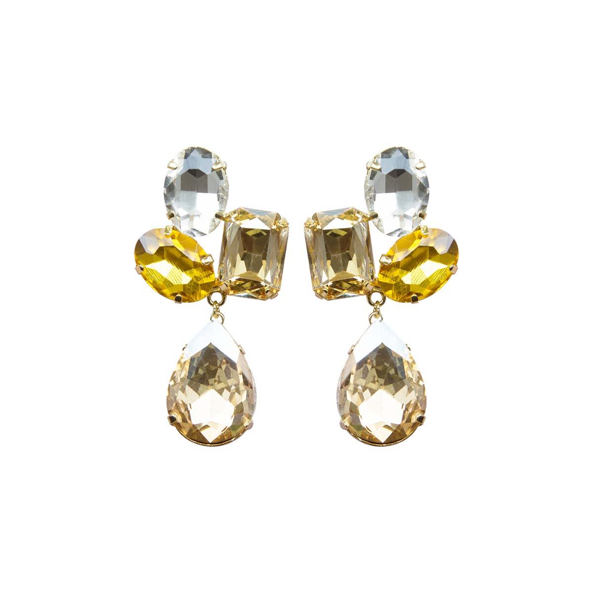 Teria Yabar - Pendientes de fiesta con cuatro cristales