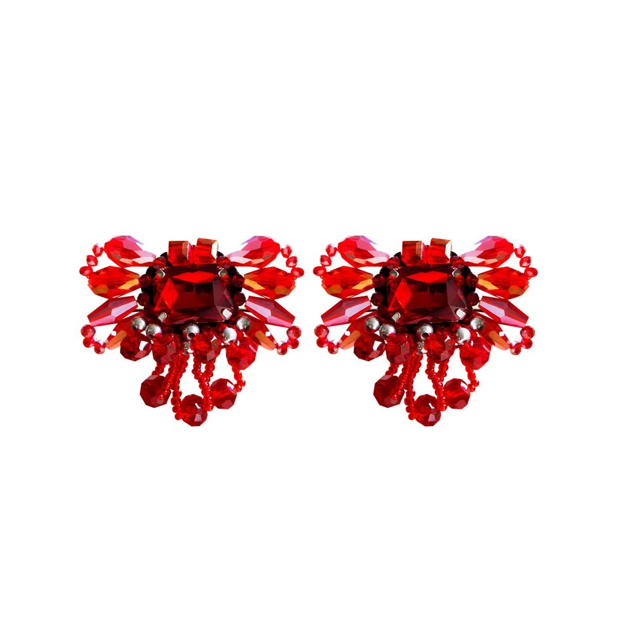 Teria Yabar - Pendientes de fiesta en color rubí