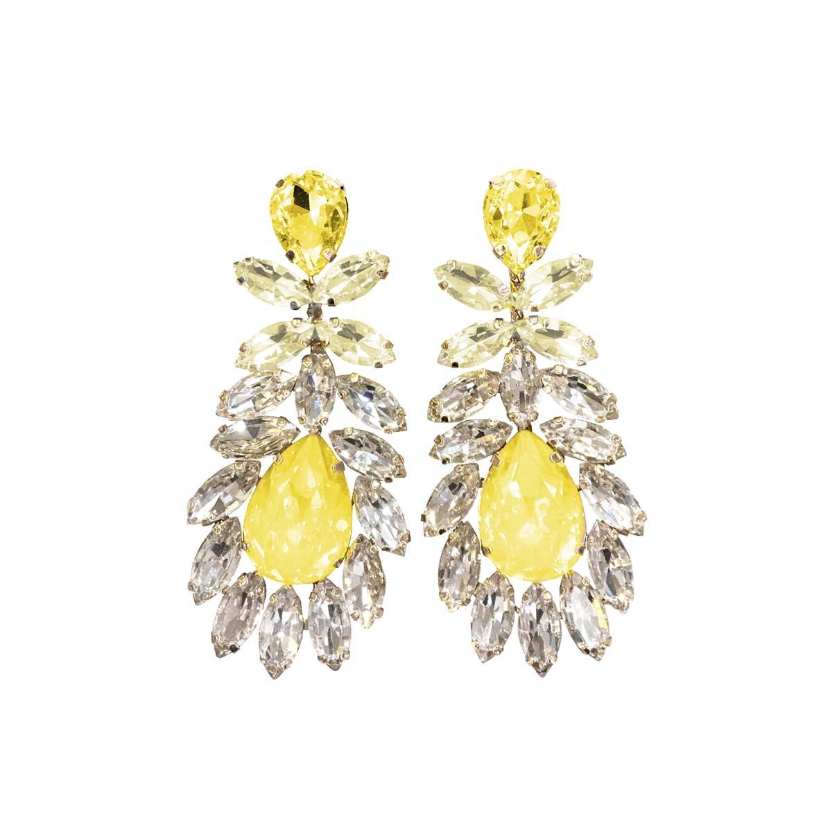 Teria Yabar - Pendientes de fiesta con cristales amarillos