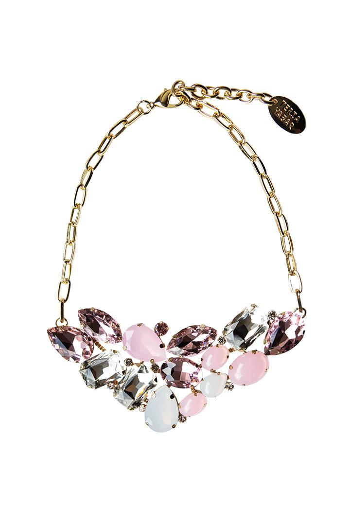 Collar corto cristales rosas