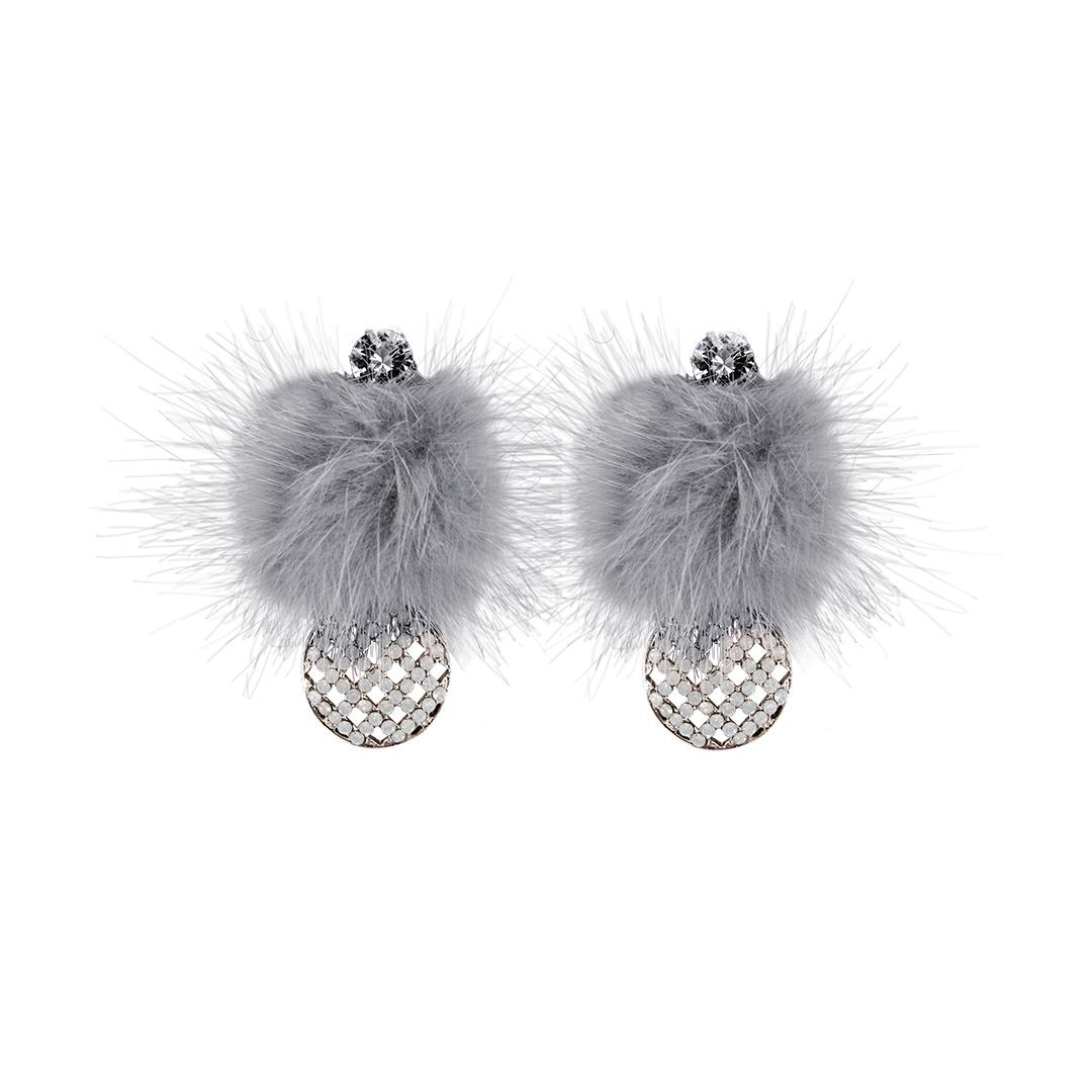 Pendientes con pompón gris y circonita