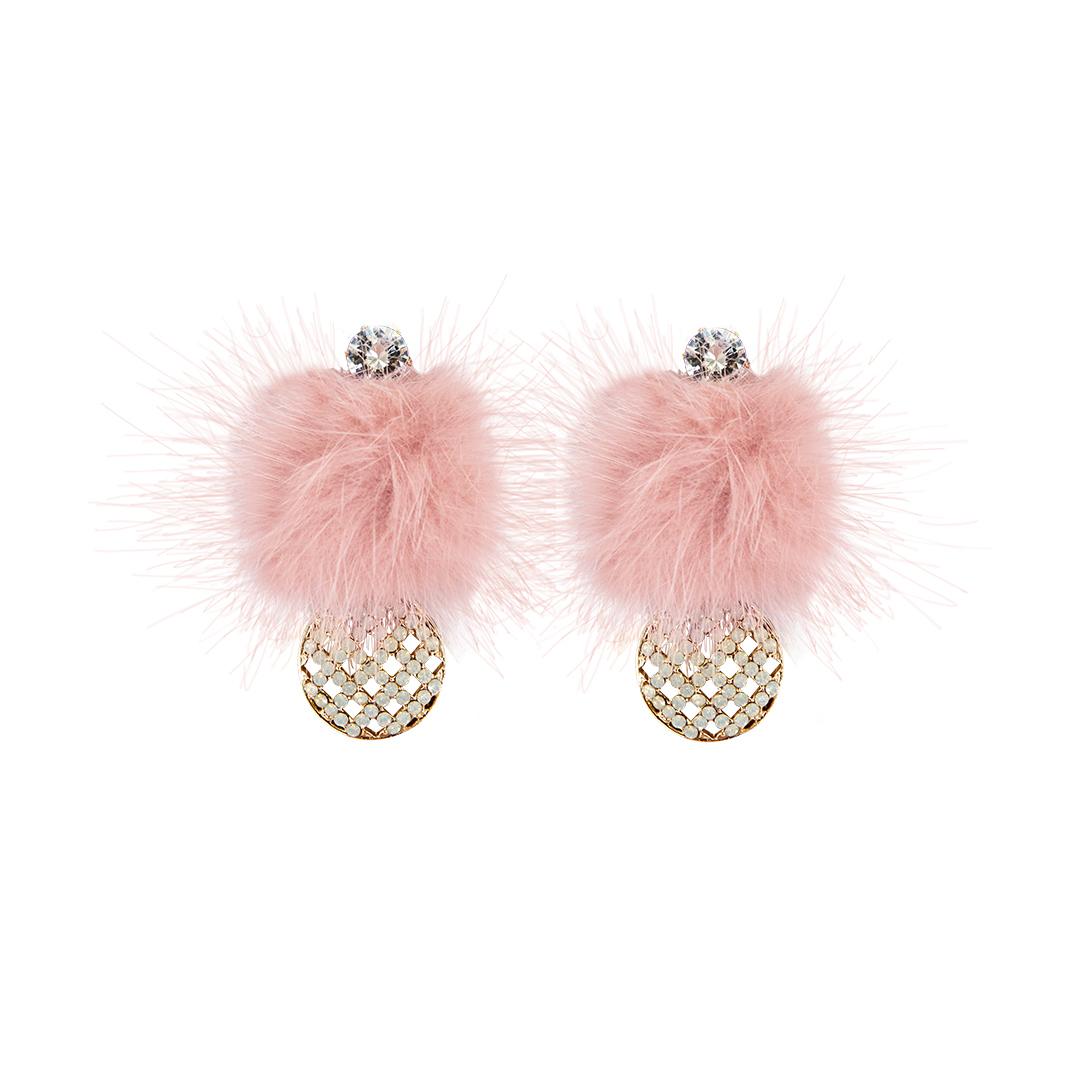 Pendientes con pompón rosa y circonita