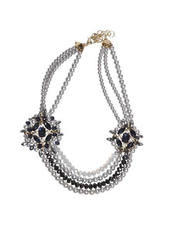 Collar de Perlas Con Rosetones Marino Teria Yabar