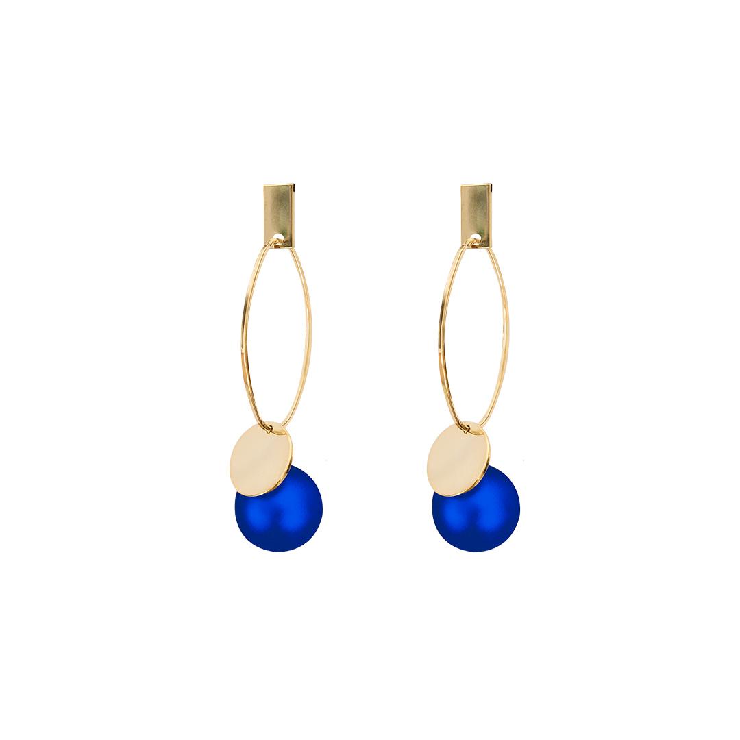 Pendientes con perla azul efecto velour