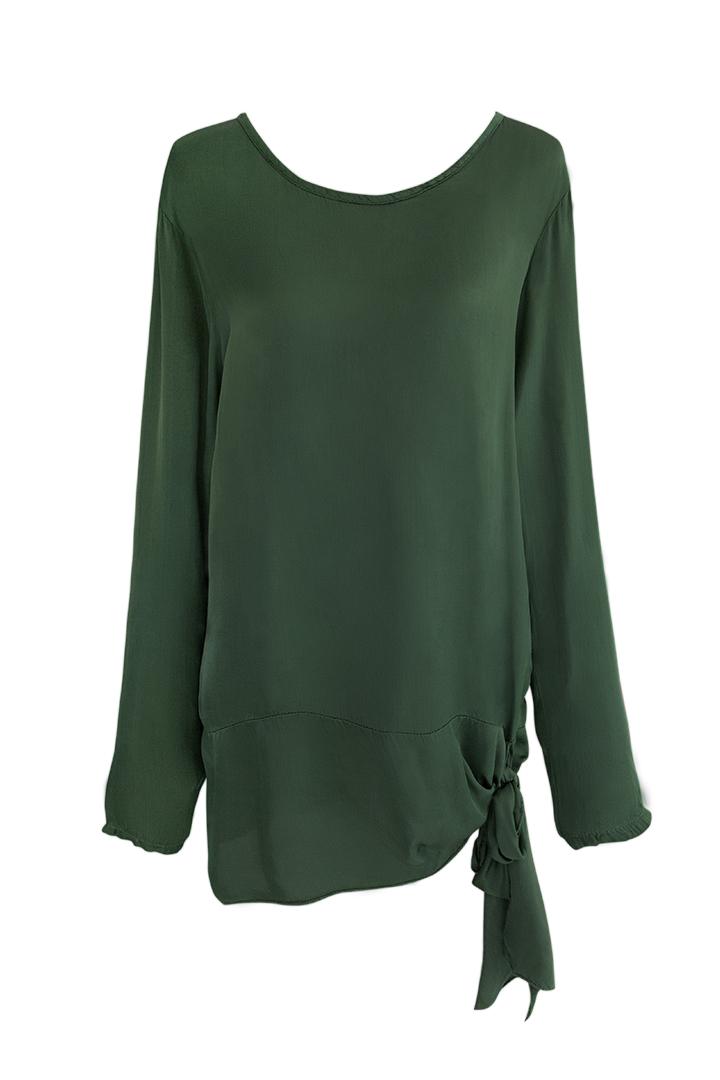 Camisa verde con lazada Camisa Verde con Lazada Basic Teria Yabar
