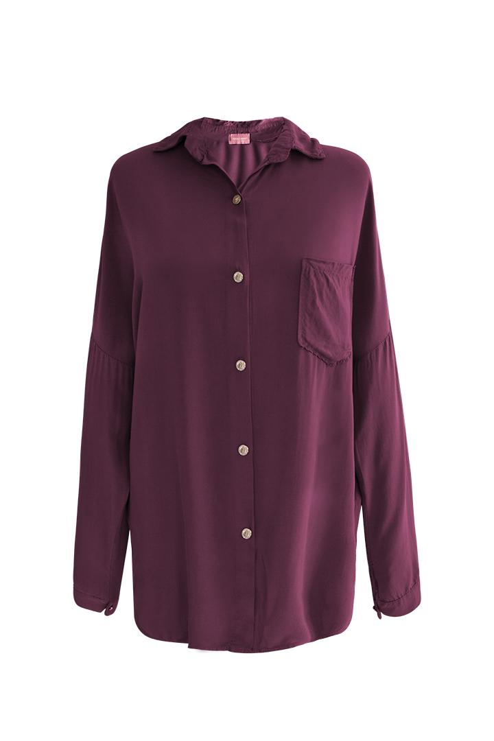 Camisa Bolsillo Basic Teria Yabar Marsala