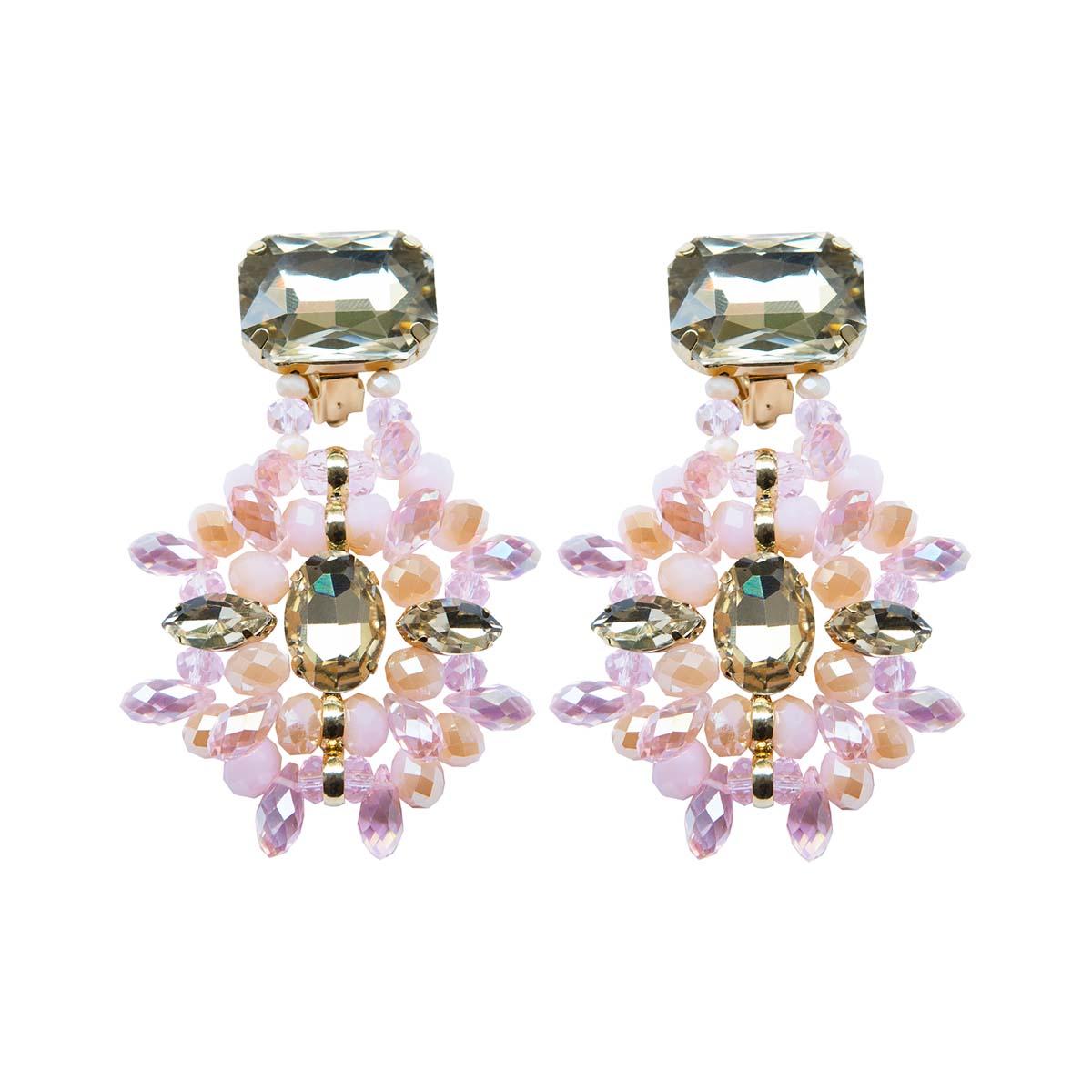 Teria Yabar - Pendientes de cristales rosas y transparentes