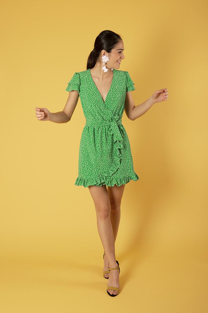 Vestido verde cortito de lunares TERIA YABAR