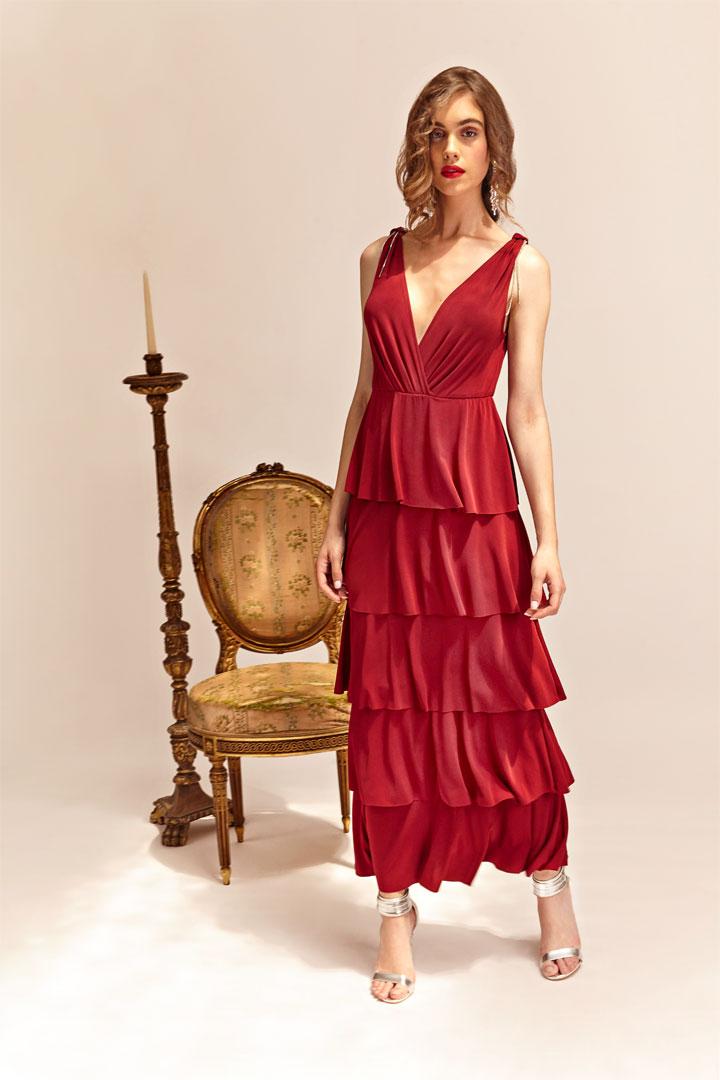 Vestido rojo cascada
