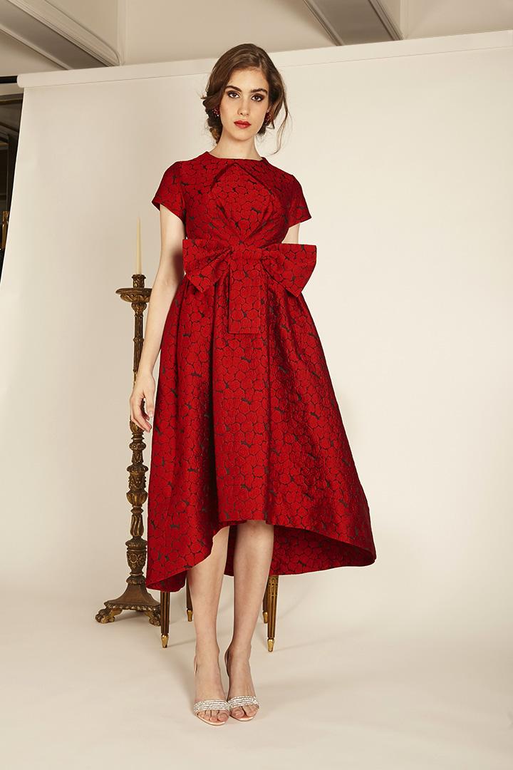 Vestido Rojo Brocado Teria Yabar Otoño Invierno 2019 2020