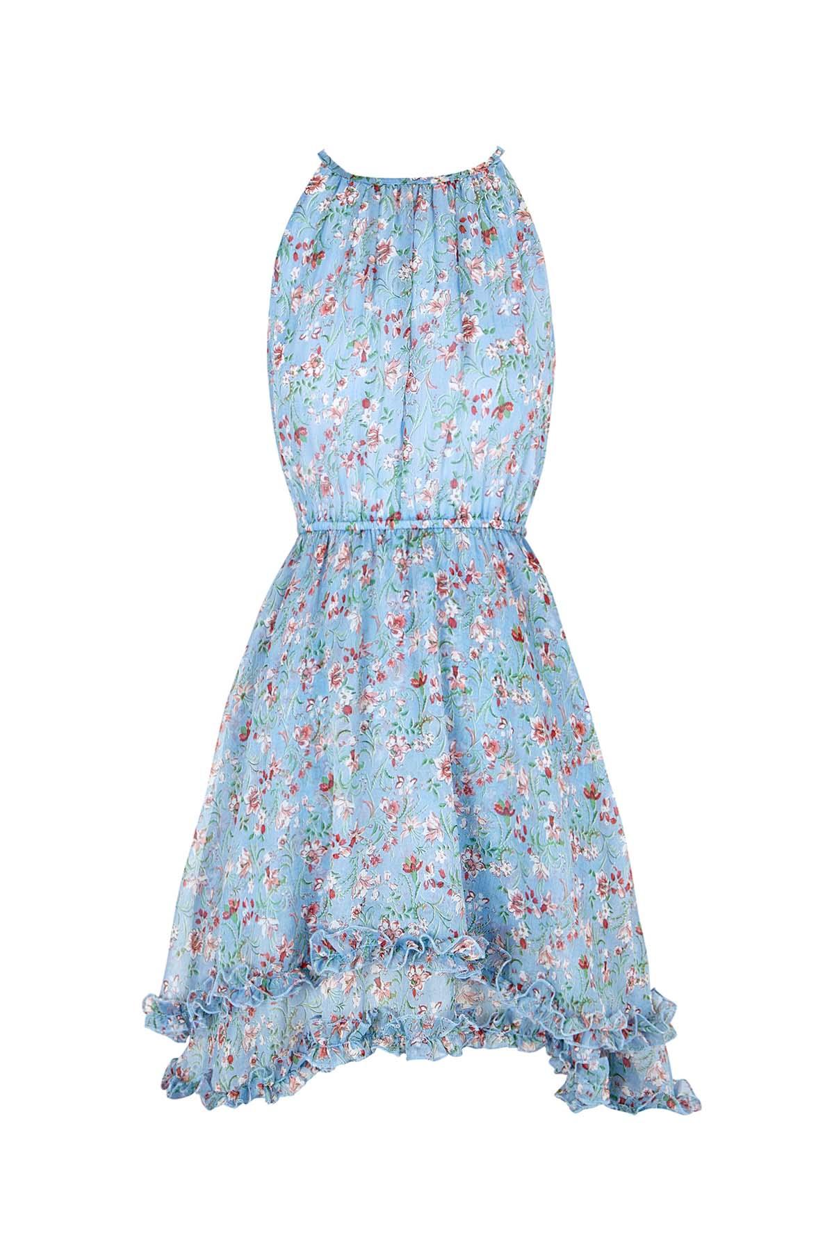 Teria Yabar - Vestido azul asimétrico