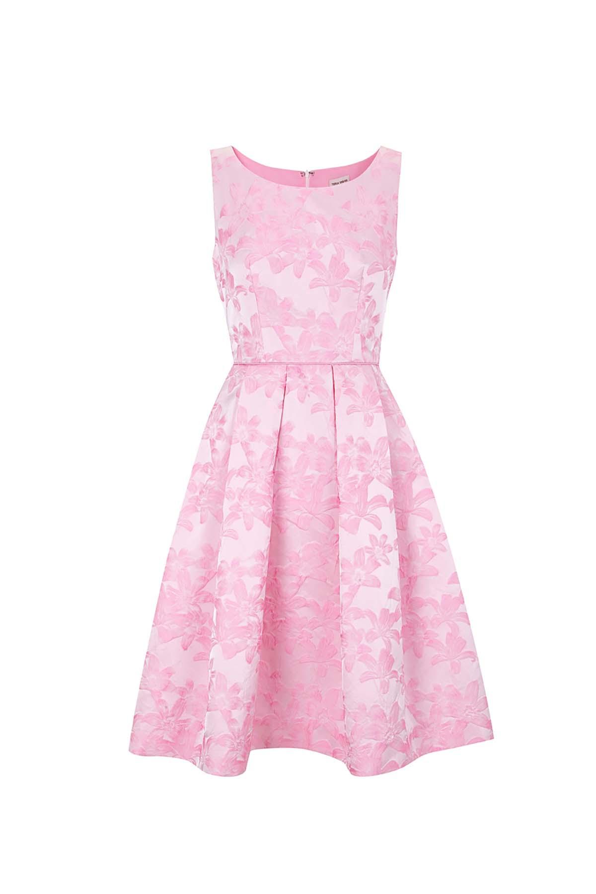 Teria Yabar - Vestido rosa de flor aterciopelada