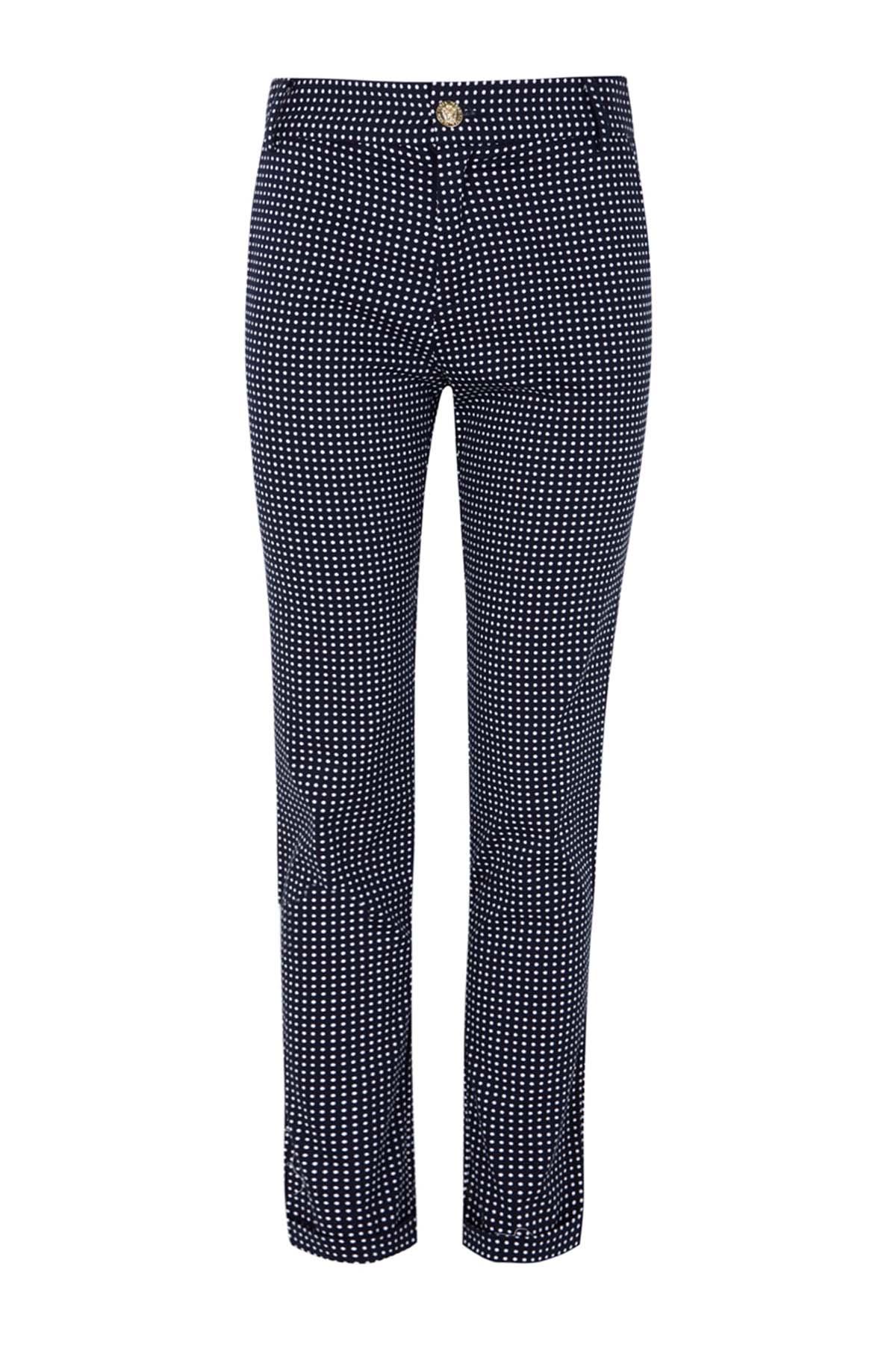 Teria Yabar - Pantalón azul con lunares blancos