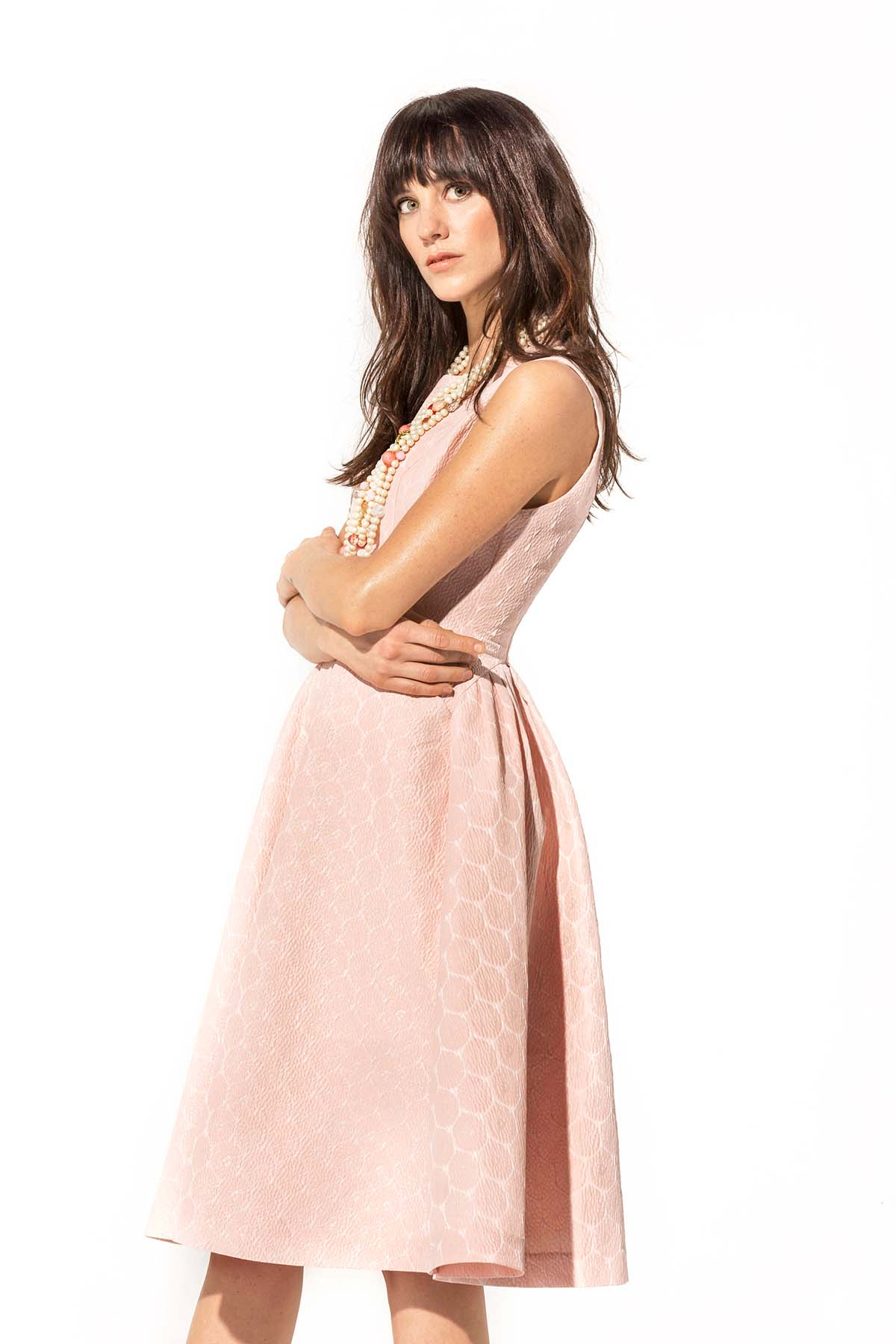 Vestido rosa y plata