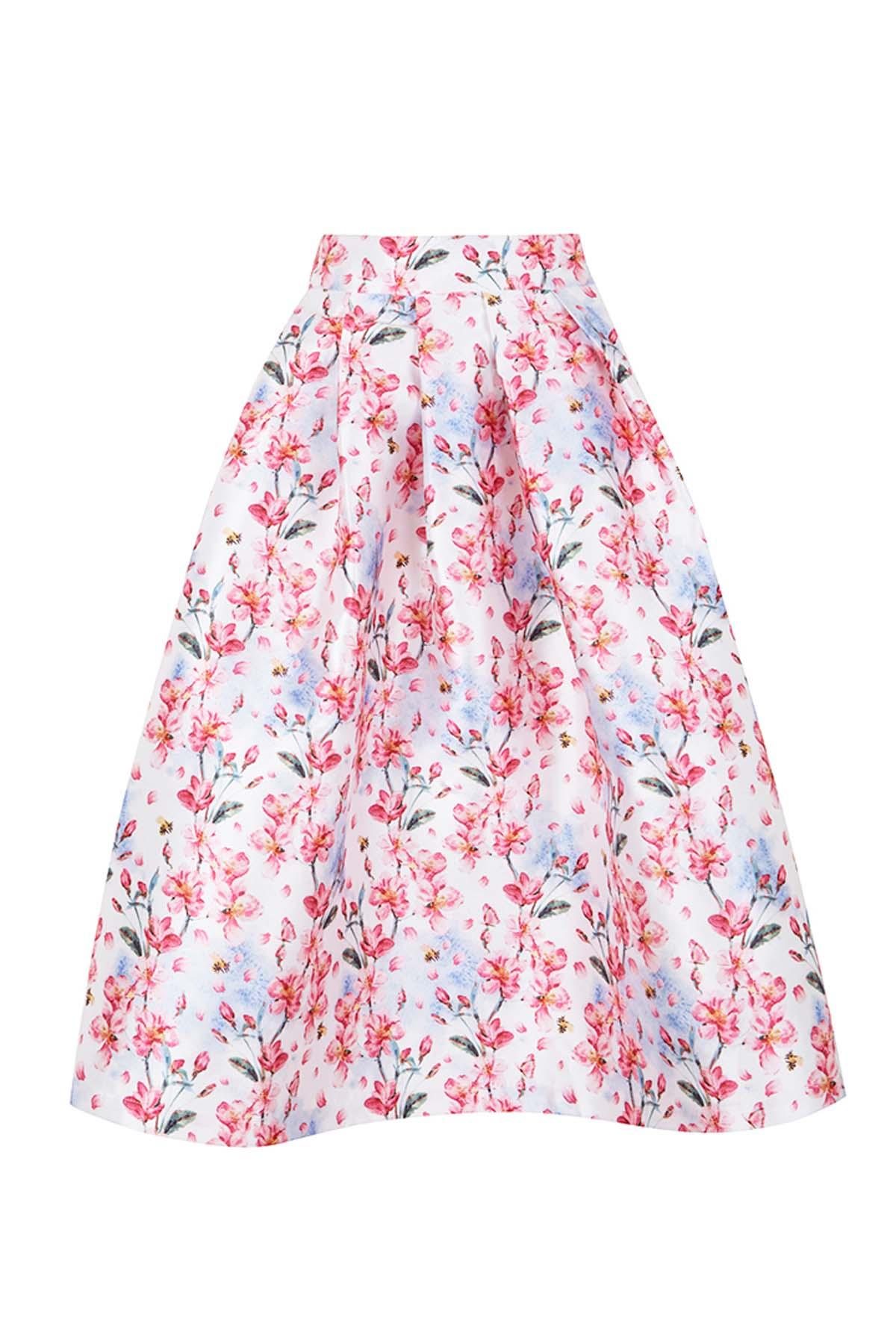 Teria Yabar - Falda de vuelo con print floral