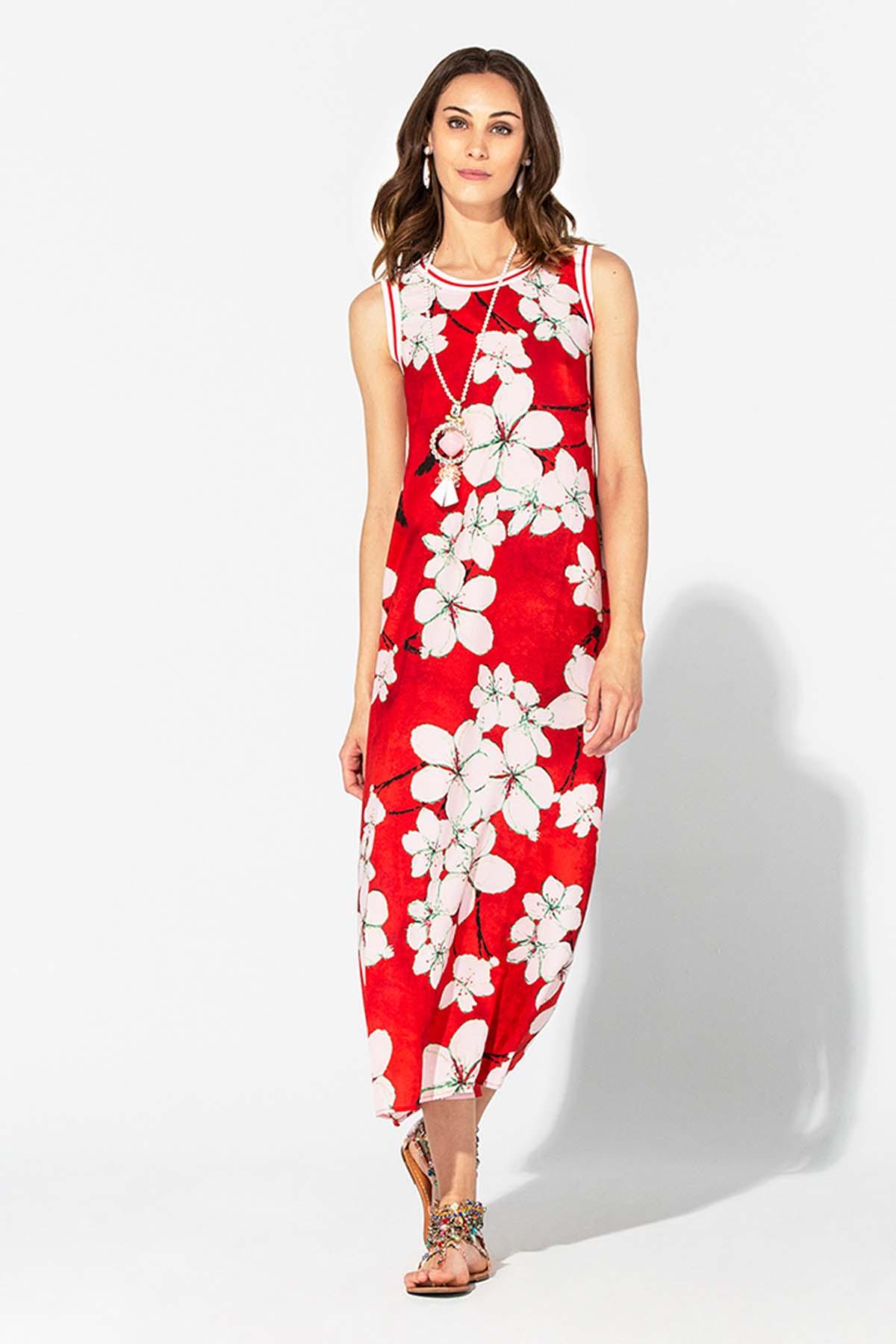 Teria Yabar - Vestido rojo largo de verano