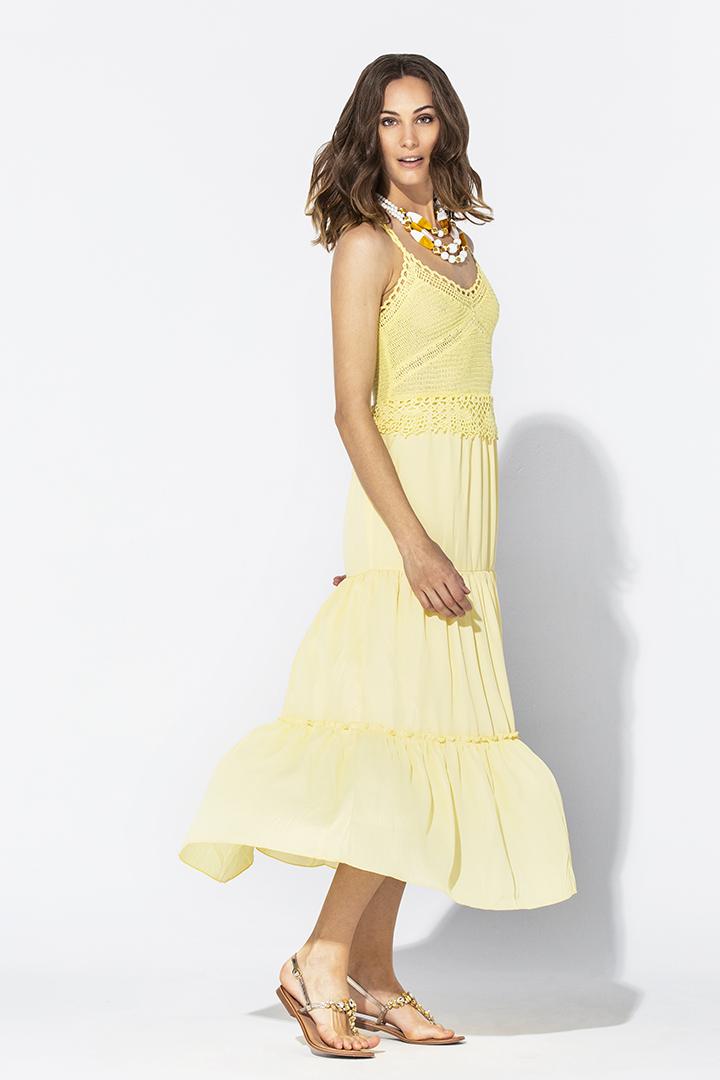 Vestido amarillo de crochet Teria Yabar - Vestido amarillo de crochet