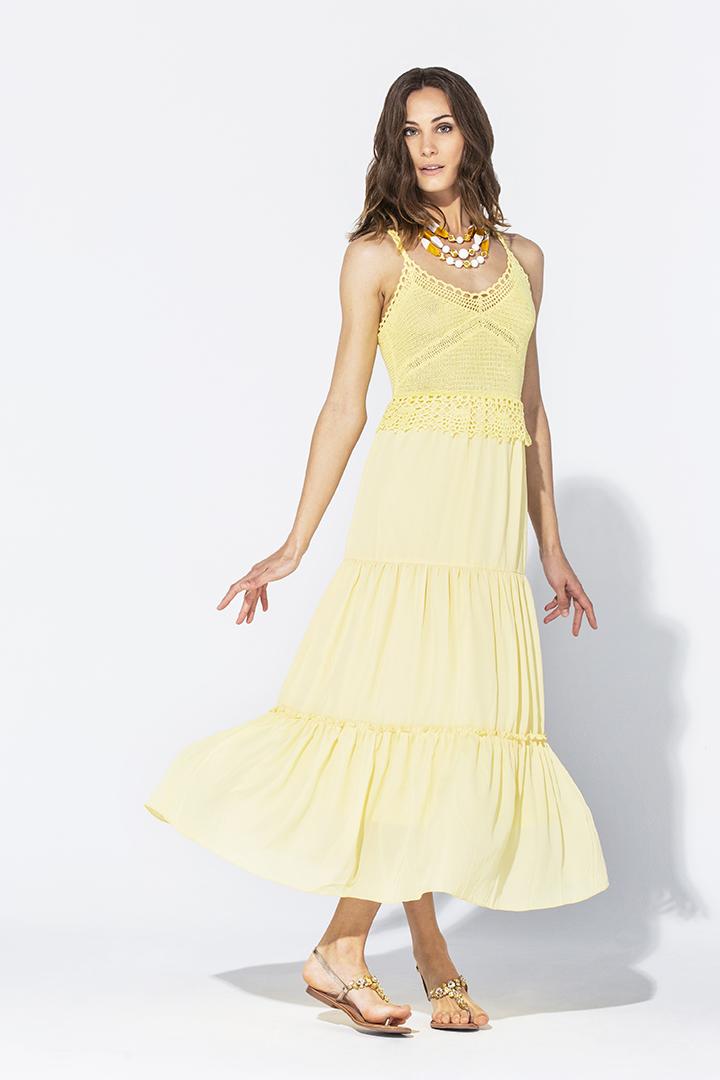 Vestido amarillo de crochet