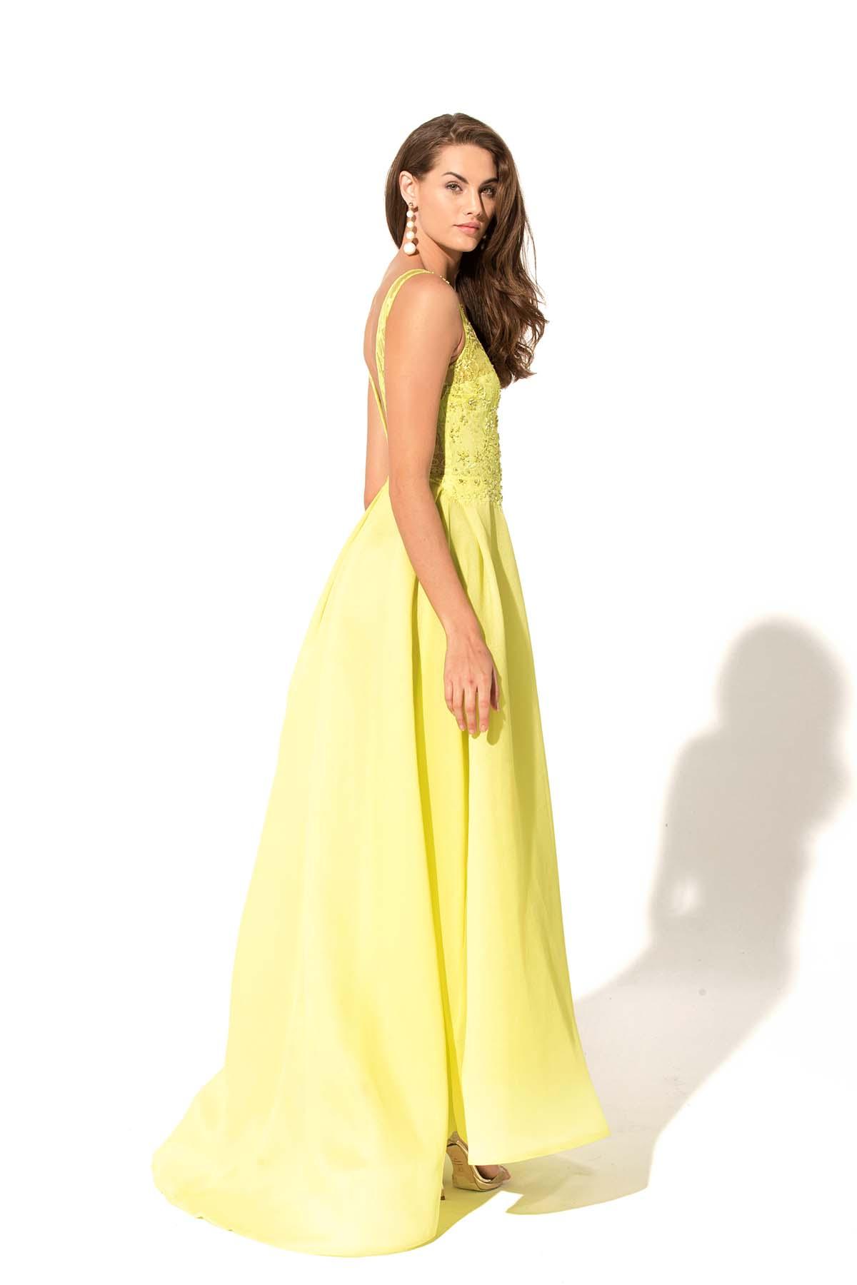 Teria Yabar - Vestido Madeleine amarillo
