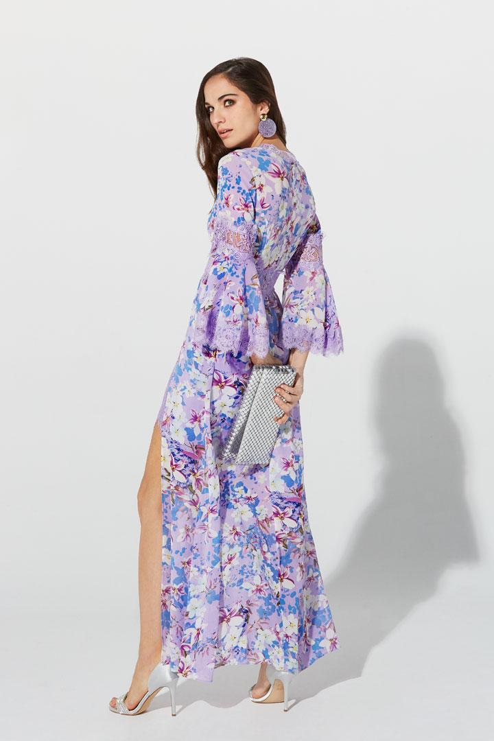 Vestido morado ribeteado
