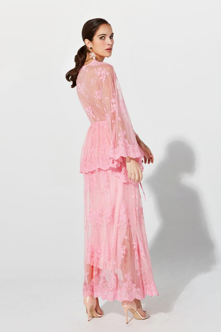 Vestido fluido de tul rosa