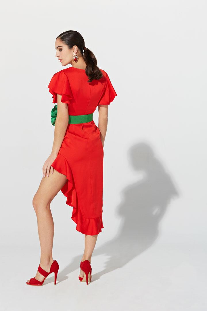 Vestido rojo de georgette satinado
