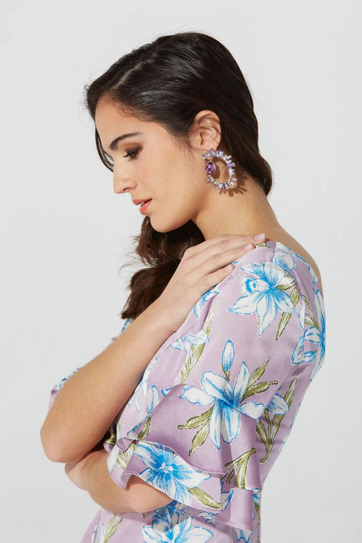 Vestido de satén con estampado floral