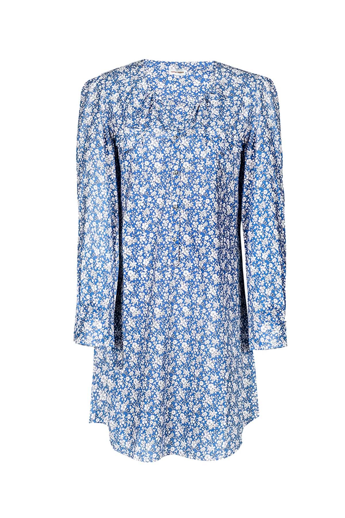 Teria Yabar - Vestido camisero azul Liberty