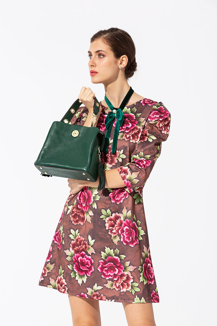 Vestido floral de manga jamón