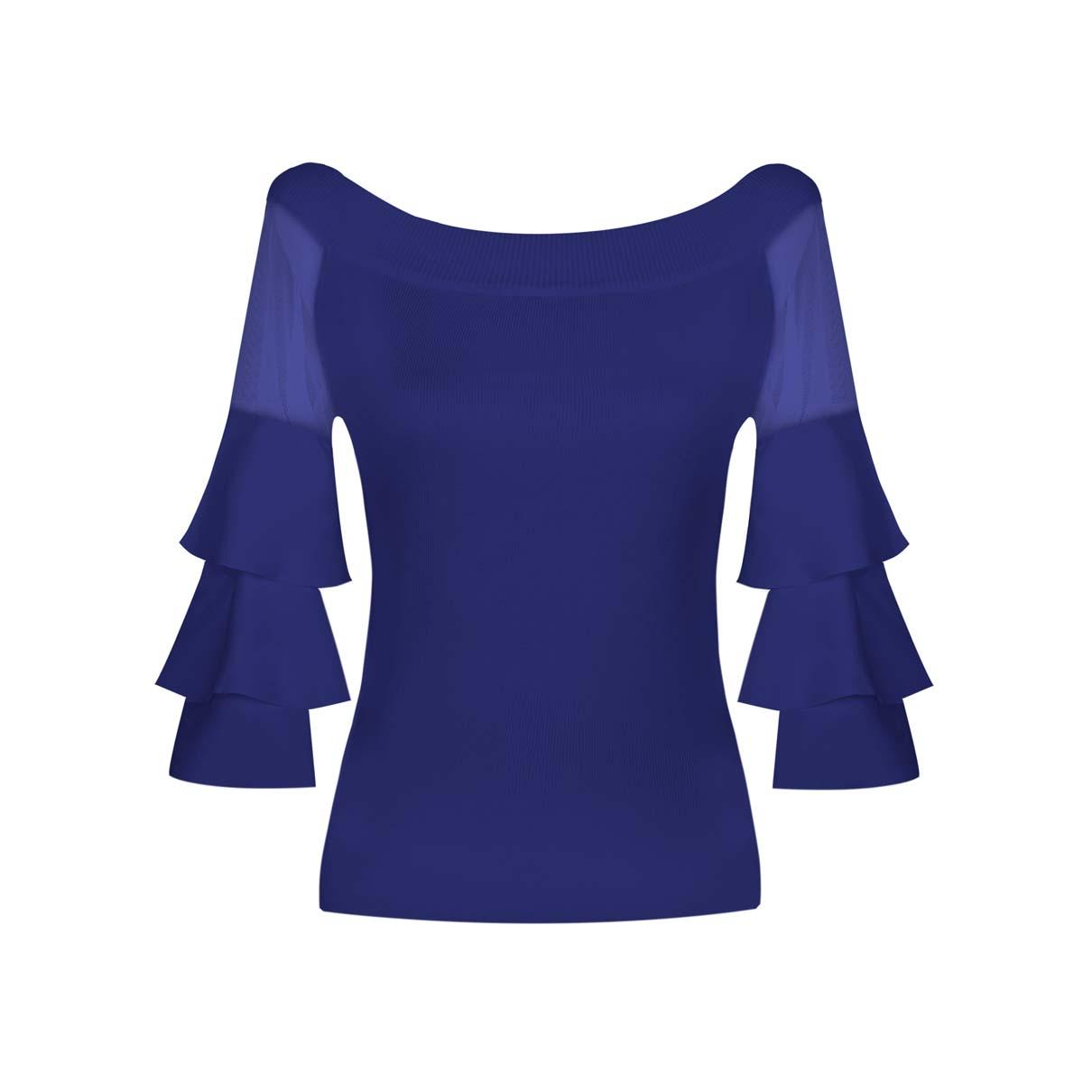 Teria Yabar - Jersey azul con volantes