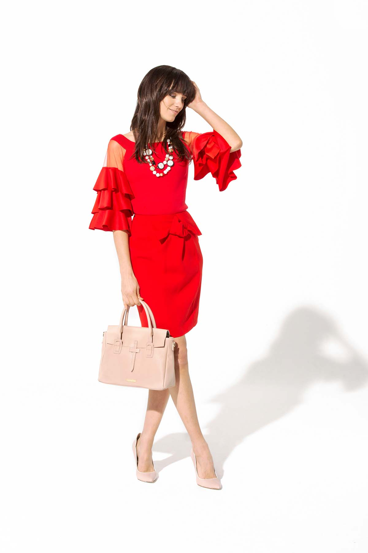 Teria Yabar - Jersey rojo de volantes