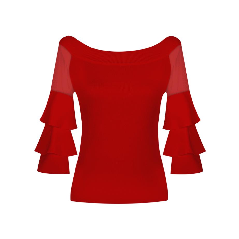 Jersey rojo de volantes
