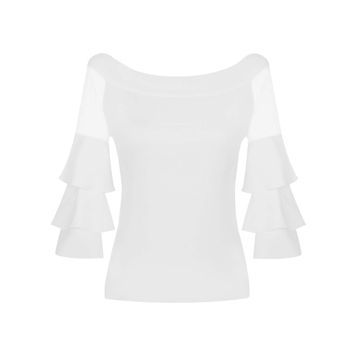 Teria Yabar - Jersey blanco de volantes