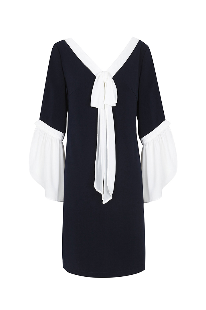 Teria Yabar - Vestido corto en contraste