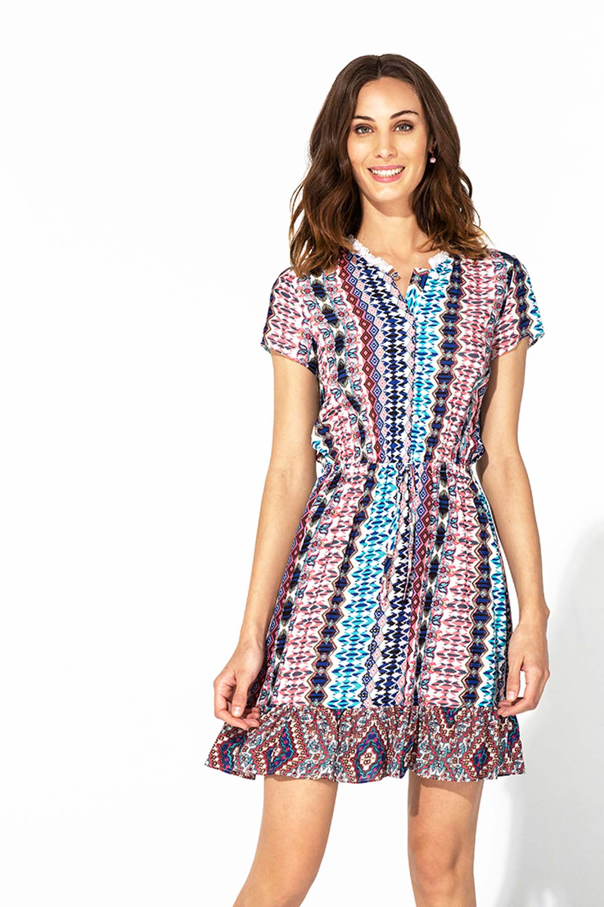 Vestido corto étnico