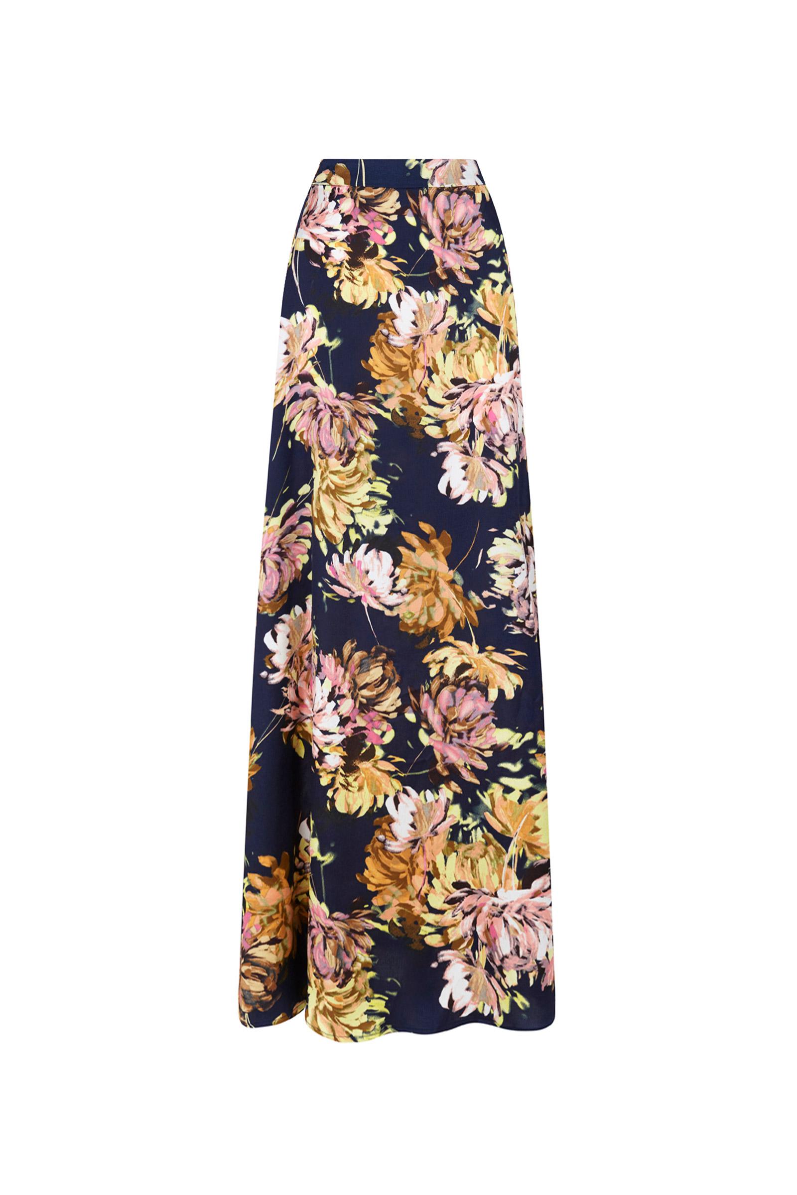 Falda larga estampada azul marino