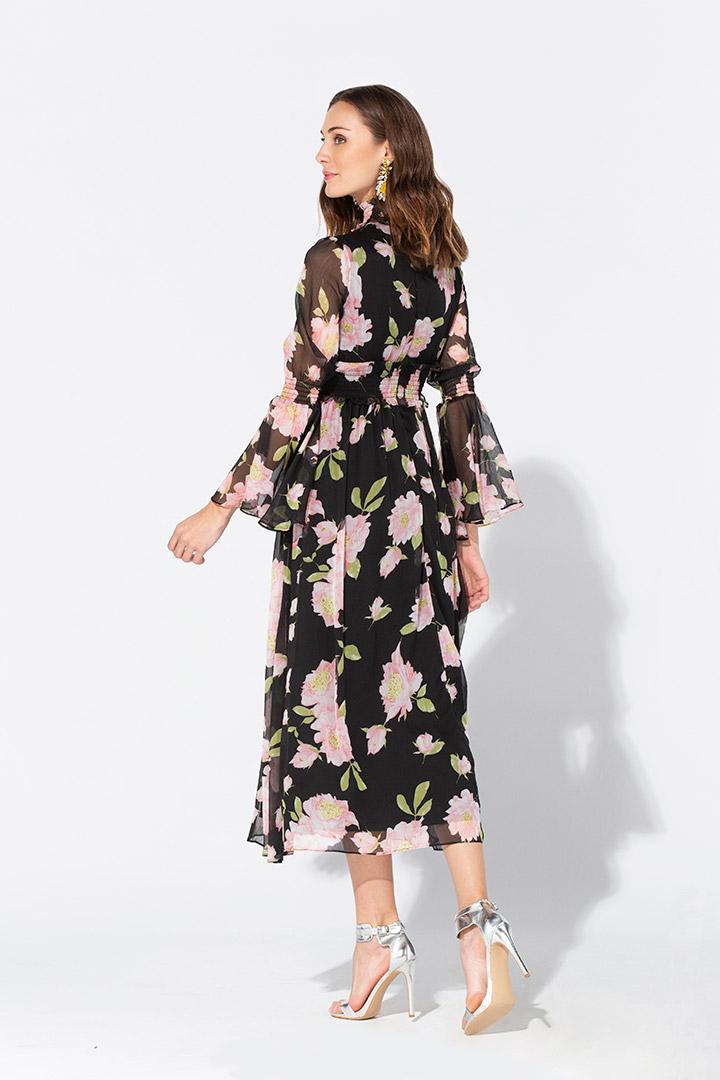 Vestido de georgette con estampado floral