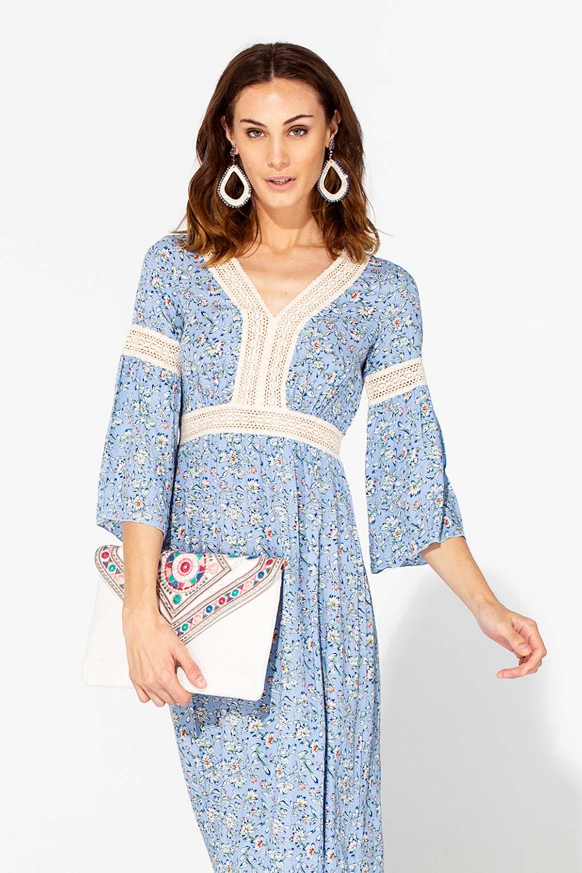 Vestido largo de crochet Teria Yabar - Vestido largo de crochet