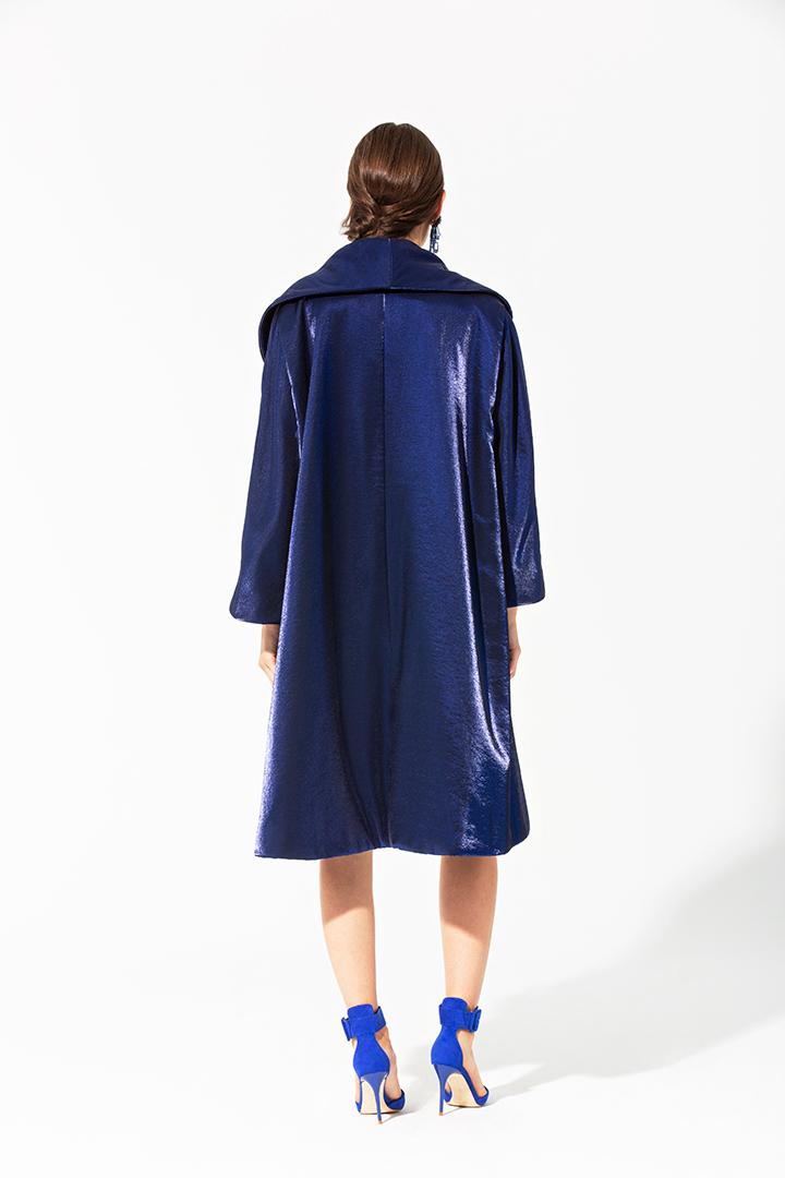 Abrigo azul de moaré