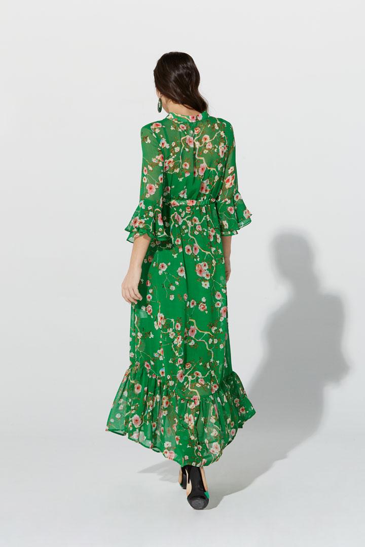 Vestido floral de gasa verde