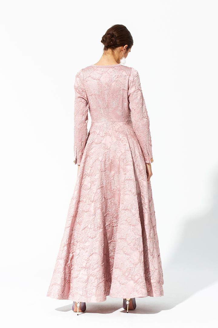 Vestido largo brocado rosa